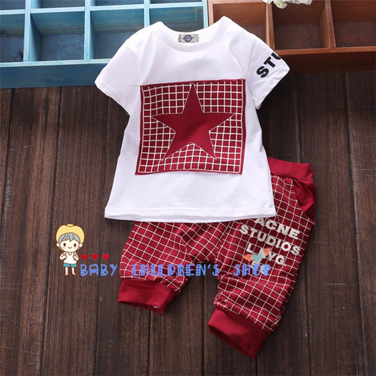 2016 Fashion Summer Unisex Baby Clothing Sets Children Cotton Boys Cute Suits Babies Tops+Pants 2pcs Set Infant Girls Clothes - Deals Blast