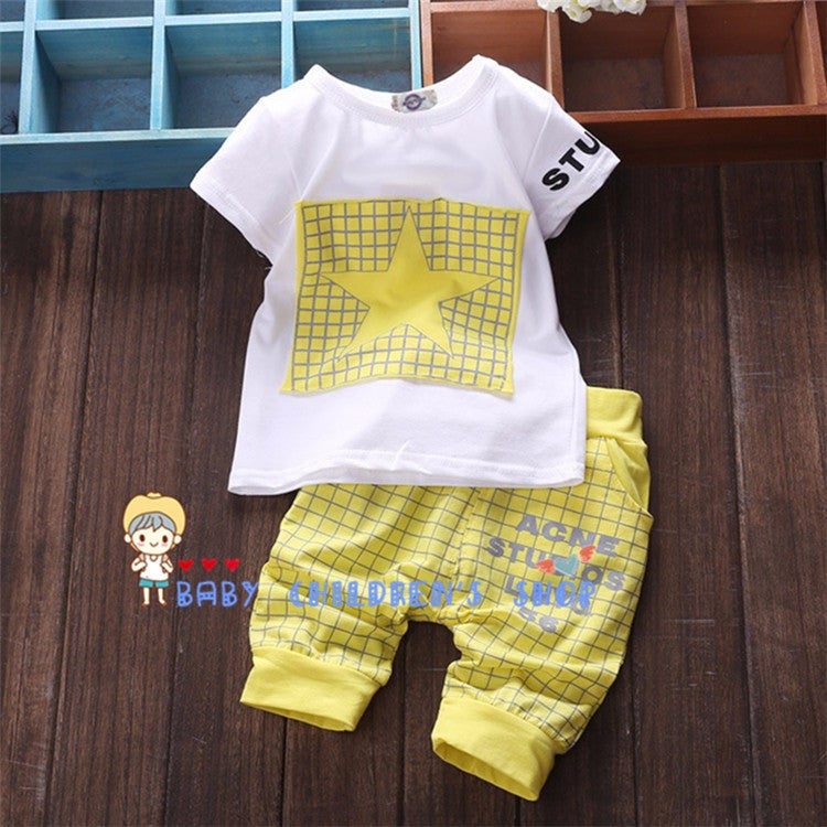 2016 Fashion Summer Unisex Baby Clothing Sets Children Cotton Boys Cute Suits Babies Tops+Pants 2pcs Set Infant Girls Clothes Deals Blast