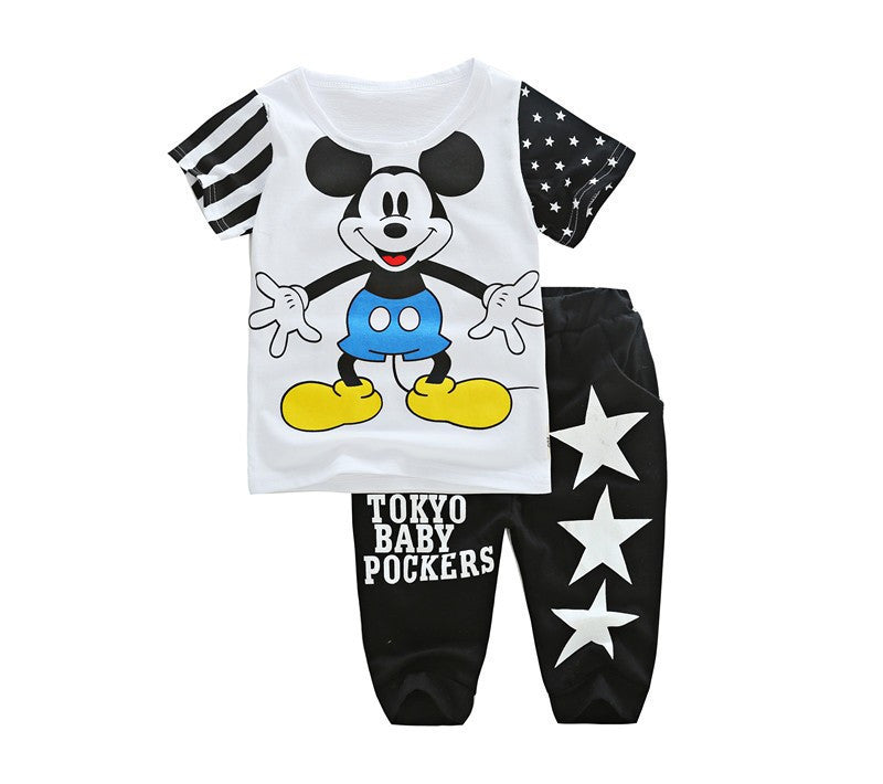 2-7years Summer Boy clothes Mickey Children Clothing sets top+pant cotton superman t-shirts&pants kids clothes baby boy clothes - Deals Blast