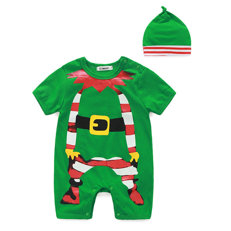 2016 New Year Christmas Clothes 2pc Kids Clothes christmas clothing sets Santa baby boys clothes with hat baby girls clothes Deals Blast