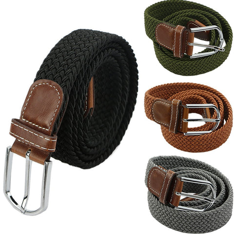 cfa67250c Mens Woven Stretch Braided Elastic Leather Buckle Belt Unisex Waistband  Belts Deals Blast