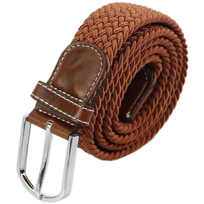 Mens Woven Stretch Braided Elastic Leather Buckle Belt Unisex Waistband Belts Deals Blast