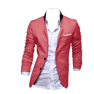 New Stylish Men's Casual Slim Fit Two Button Suit Blazer Coat Leisure Jacket Tops 3 Colors Asia size XS-L - Deals Blast
