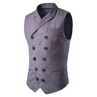 2016 New Men's Blazer Vest Double Button Sleeveless Blazer Jaqueta Colete Masculine Gilet Homme Mens Formal Vest Waistcoat Y2010 Deals Blast