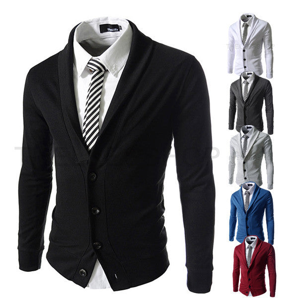 New autumn characteristic Lapel solid color knitting class men cardigan style small suit - Deals Blast