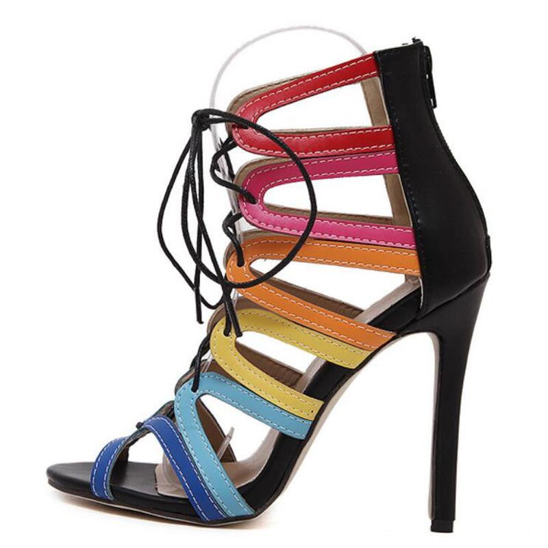 2016 New European and American Big Roman Sandals Pierced Cross Straps Fine With High-heeled Women Shoes Mixed Colors Sandals - Deals Blast