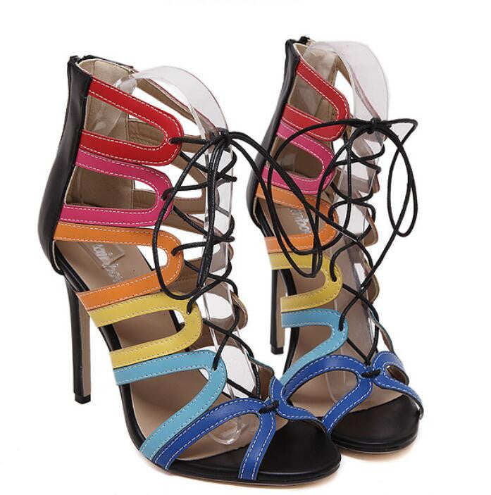 2016 New European and American Big Roman Sandals Pierced Cross Straps Fine With High-heeled Women Shoes Mixed Colors Sandals Deals Blast