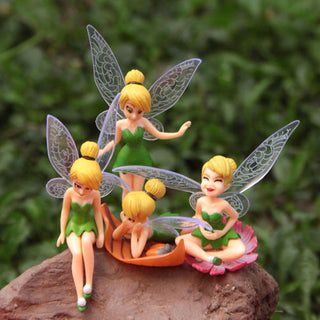 Cute 4pcs/set Tinker Bell Fairies Resin Action Figures Tinkerbell Fairy Adorable Ornaments Anime Figurines Cake Topper Kids Toys: Deals Blast