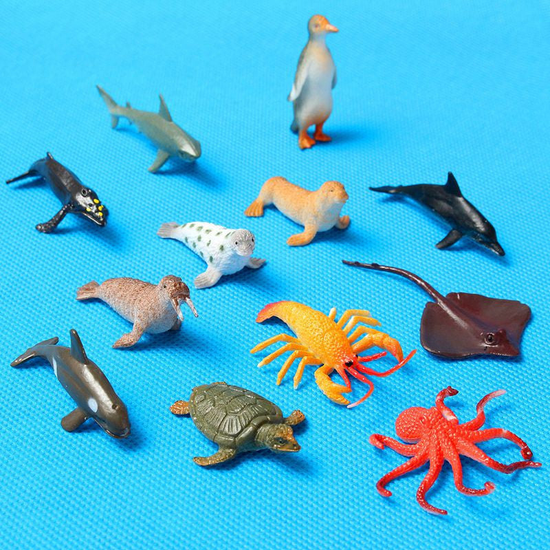 12pcs/set Plastic Marine Animal Model Toy Figure Ocean Creatures Dolphin Kids Toy Best Model Gift For Children Kids: Deals Blast