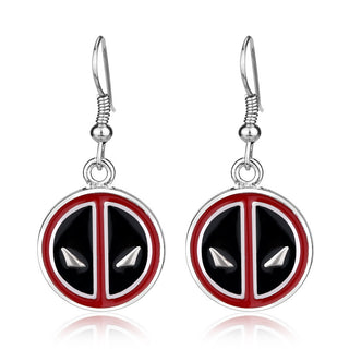 New Design Vintage Personality Deadpool Earrings Red and Black Enamel badges Pins Drop earrings jewelry Earrings Women Gift Deals Blast