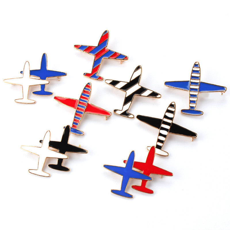 2016 1 piece Alloy Stripes Airplane Enamel Brooch Pin Men Women Shirt Collar Pin Lapel Pin Jewelry Lacquer Ladies Gift - Deals Blast