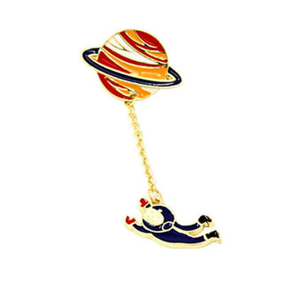 Women`s Brooches Fashion Trendy Vintage Designer Enamel Rabbit Spaceman Planet Brooch Pins Jewelry