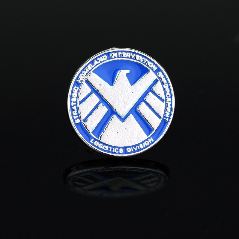 The Avengers Agents of Shield s.h.i.e.l.d. Sign Lape Metal Pin Badge Brooch Blue Enamel Round Brooches for Men Jewelry Deals Blast