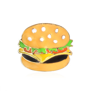 Fast Food Jewelry Hot Dogs Pizza Hamburgers Poached Eggs Dice Bombs Enamel Pin Hat Shirt Collar Bag Chain Brooch Deals Blast