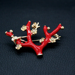 High quality fashion ideas personality and temperament red enamel branch golden scarf buckle female autumn winter jewelry Deals Blast