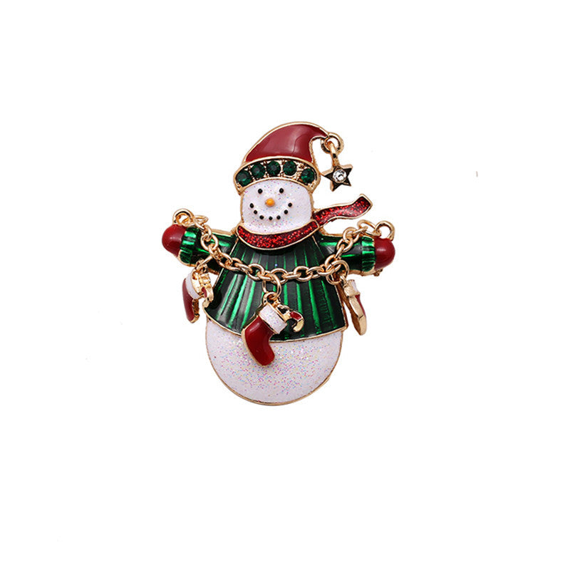Christmas Brooches And Pins.European Fashion Snowman Christmas Brooch Pin Dropping Glaze Enamel Brooches Jewelry Christmas Present For Women Gifts
