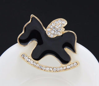 Fashionable Rhinestone Gold Plated Enamel Wooden Horse Hobbyhorse Cockhorse Wedding Collar Pins For Women - Deals Blast