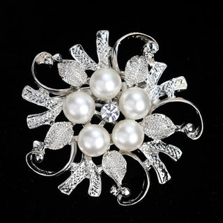 Fashion Hollow Out Shiny Flower Leaf With Simulated-Pearl Rhinestone Enamel Crystal Brooch Pins For Women Scarf Jewelry Gifts Deals Blast