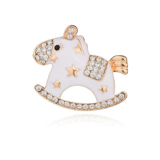 Decoration Garment Accessories Wedding Bridal Crystal Animal Toy Hobbyhorse Enamel Cockhorse Women Brooches Pin - Deals Blast