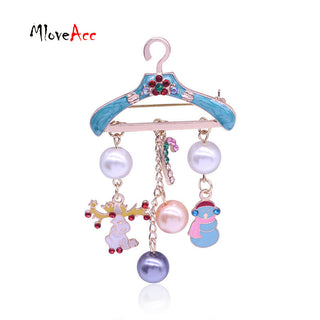 Fashion Gold Metal Hanger Shape Christmas Brooches Enamel Deer Snowman Charm Imitation Pearl Pins For Women Christmas Gifts Deals Blast