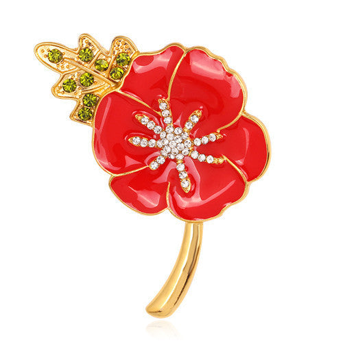 Broches De Strass Enamel Red Poppy Brooches Flower Diamante Crystal Broach Banquet Badge Brooch Breastpin Hijab Pins And Brooch Deals Blast