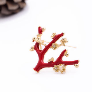 Brooch for Wedding Fashion Statement Jewelry Elegant Rhinestone Glazed Enamel Red Branch Flowers Brooches Deals Blast