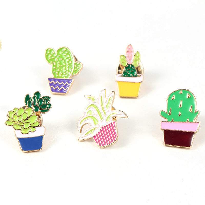 1PC Hot Fashion Enamel Cactus Potted Plant Lapel Pins Brooches For Women Girl Gold Plated Brooch Badge Collar Scarf Pin - Deals Blast