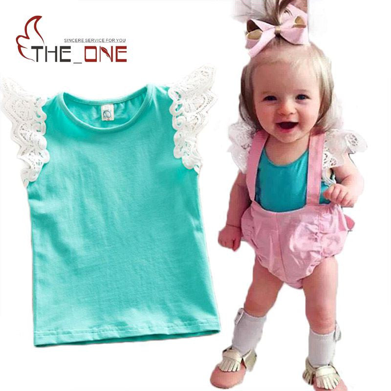 0-5T Baby Girls Flying Sleeve Cotton Lace Shirt Kids Girl Striped Soft Vest Infant Tank Tops Tees Summer Clothes - Deals Blast