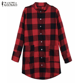2016 Fashion Womens Boyfriend Plaid Shirt Long Sleeve Cotton All Matched Irregular Casual Blouse Plus Size Blusas Tops Deals Blast