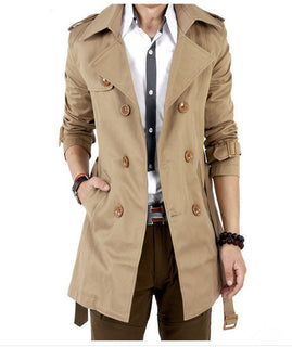 Trench Coat Men Classic Double Breasted Mens Long  Coat Masculino Mens Clothing Long Jackets & Coats British Style Overcoat - Deals Blast