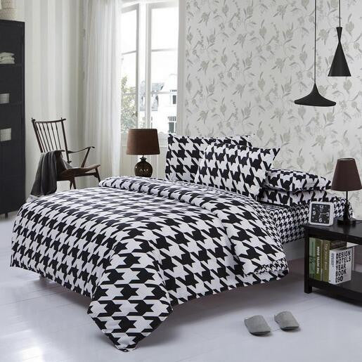 2016 Newest 3/4Pcs Striped Plaid Bedding sets Cartoon Bedding-set Bed Set King Size Sheets Duvet Cover Quilt Pillow No Comforter Deals Blast