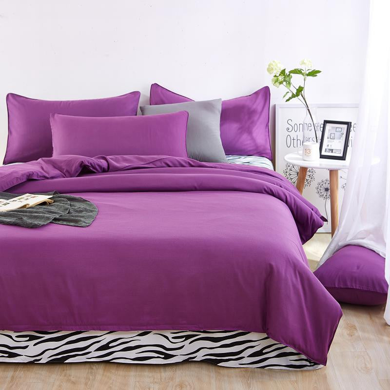 Bedding sets simple color lake blue striped bed sheet for Minimalist bed sheets
