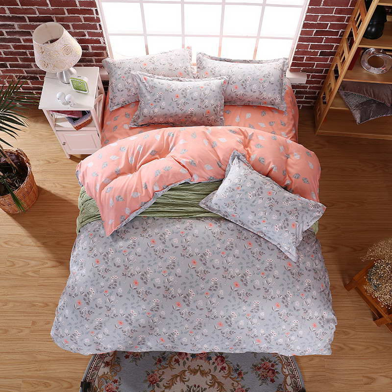 2016 summer  Bedding Sets Long period flowers Polyester Cotton Queen full  Bed Linens duvet cover Sheet Sets