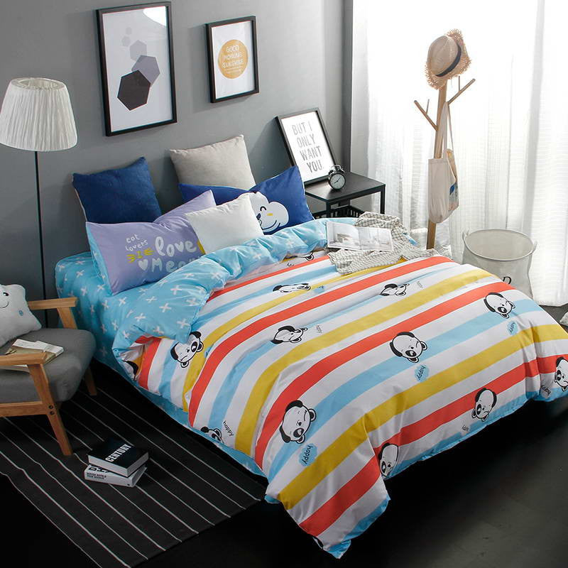 2016 New Printed Blue Cartoon Food World Bedding Sets Bed Sheet Quilt Duvet Cover Pillowcase  Excellent Imitation Cotton Queen - Deals Blast