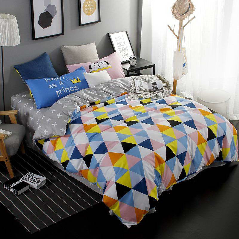2016 New Printed Blue Cartoon Food World Bedding Sets Bed Sheet Quilt Duvet Cover Pillowcase Excellent Imitation Cotton Queen Deals Blast