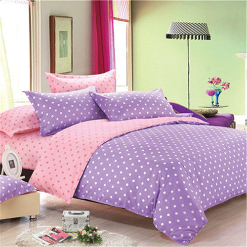 2016 Autumn bedding set purple dot duvet cover queen bed sheet housse de couette pink full bedding modern bedlinen home textile - Deals Blast