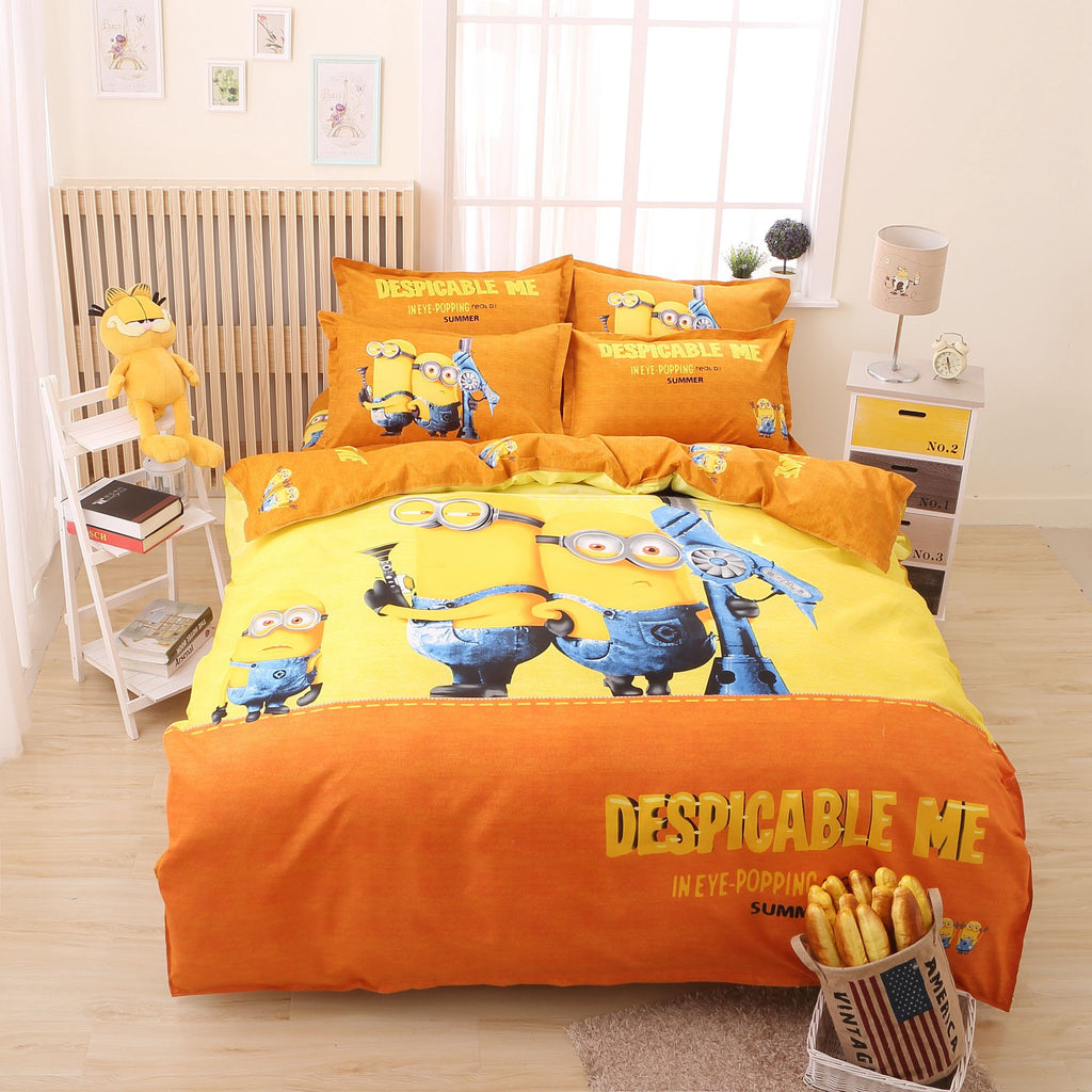 3d Cartoon Minions Hello Kitty Despicable Me Bedding Set 3-4pcs Bed Linen Bedding Duvet Cover Bed Sheet Pillowcase Free Shipping Deals Blast