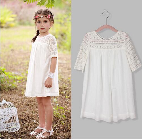 2016 Cotton Lace Girls Dress 4 to 10Y Casual Hot Summer Party Dress for Girls Deals Blast