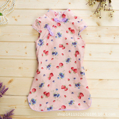 2016 2-6 years new flower kids cheongsam cute toddler gowns winter costums kids girl dress princess baby lovely sleeve dresses - Deals Blast