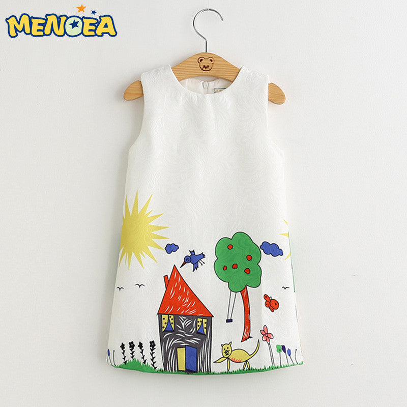 2016 Brand New Girl Princess Dress Girls Dresses Kids Clothes Graffiti Print Design Kids Dresses for Girls 3-8Y Clothes Deals Blast