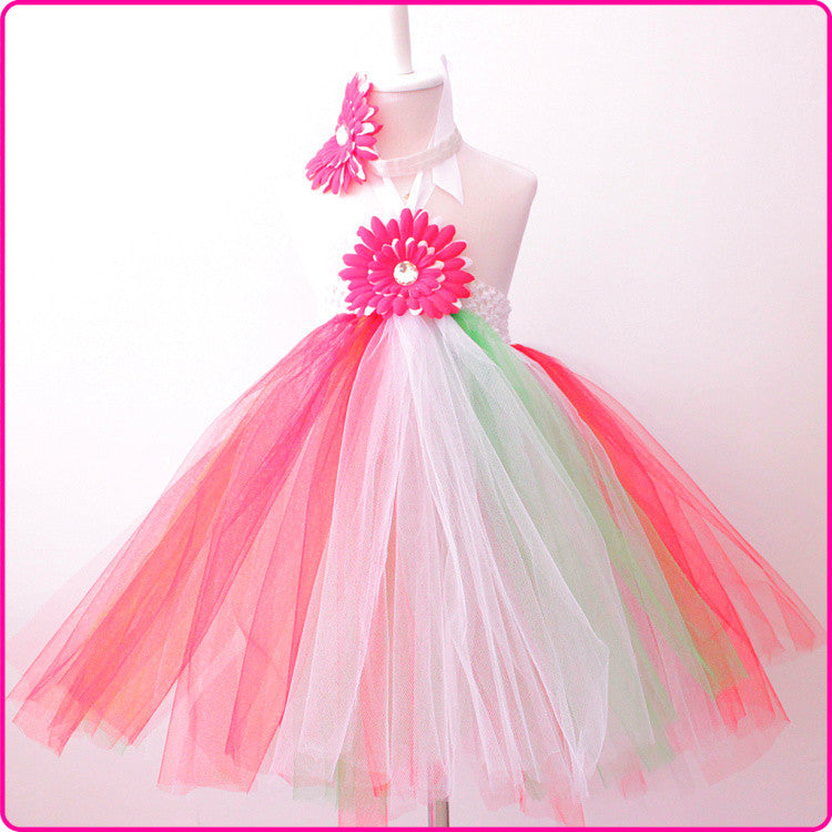 Baby Girl Mint Green red Tulle Tutu Princess Flower Girl Dress with a big flower for baby girls christmas party Deals Blast