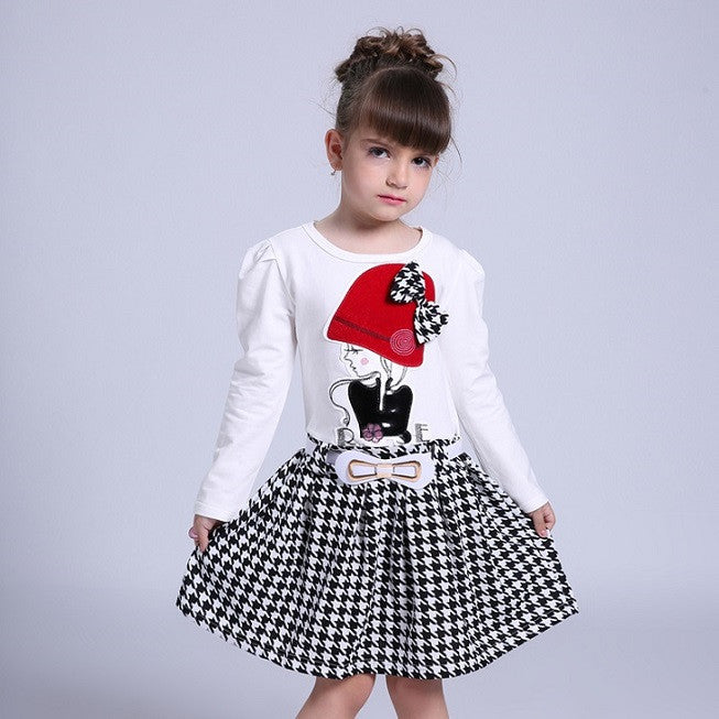 2016 Autumn Girls Dresses 3 4 5 6 7 8 9 10 Years Long Sleeve Plaid Dress For Girl Clothes Cotton Pattern Baby Children Clothing - Deals Blast