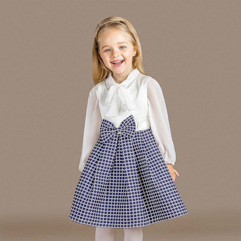 2016 autumn girls dress European style kids princess dress chiffon T-shirt  two-piece  sets - Deals Blast