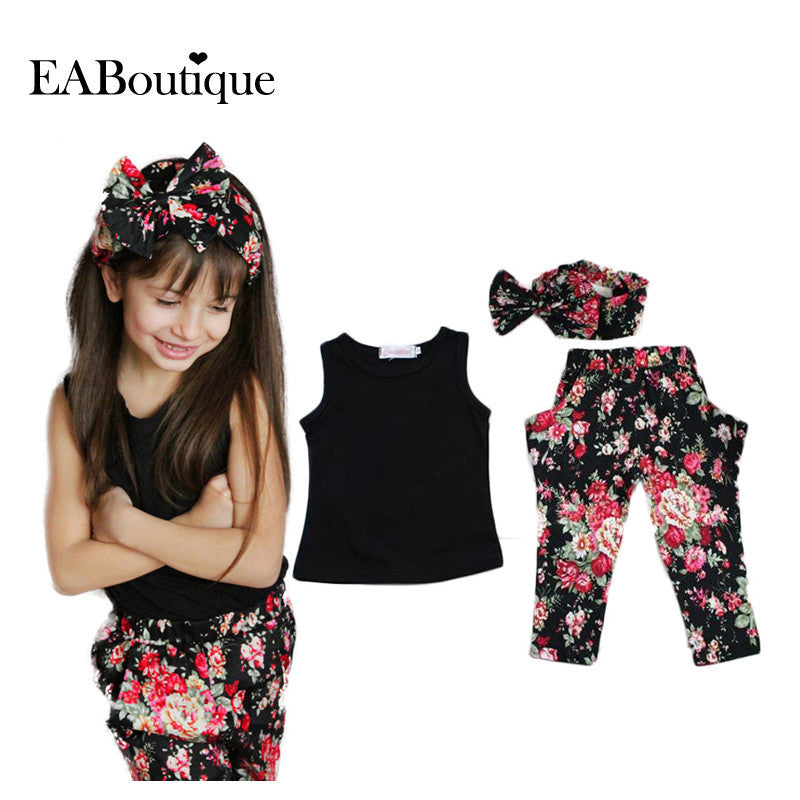 Summer style Girls Fashion floral casual suit children clothing set sleeveless outfit +headband 2015 summer new kids clothes set Deals Blast