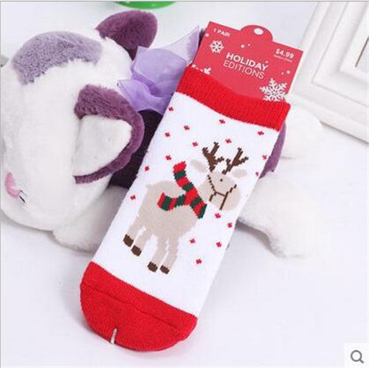 0-5T  Children Winter Thicking Cute Cartoon Jacquard Terry Christmas Socks 6Colors  Christmas Gifts Meias Kids Socks - Deals Blast