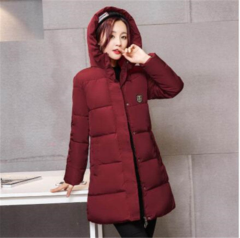 2016 New Fashion Long Winter Jacket Women Slim Female Coat Thicken Parka Down Cotton Clothing Red Clothing Hooded Student - Deals Blast