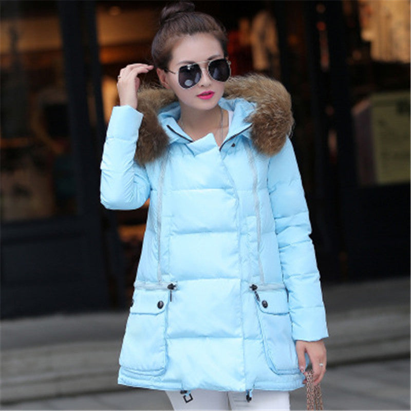 2016 Fashion A Shape Overcoat Slim Topcoat Soft Thick Short Down Parkas Stand Up Fur Collar Overwear Women Winter Jacket Deals Blast