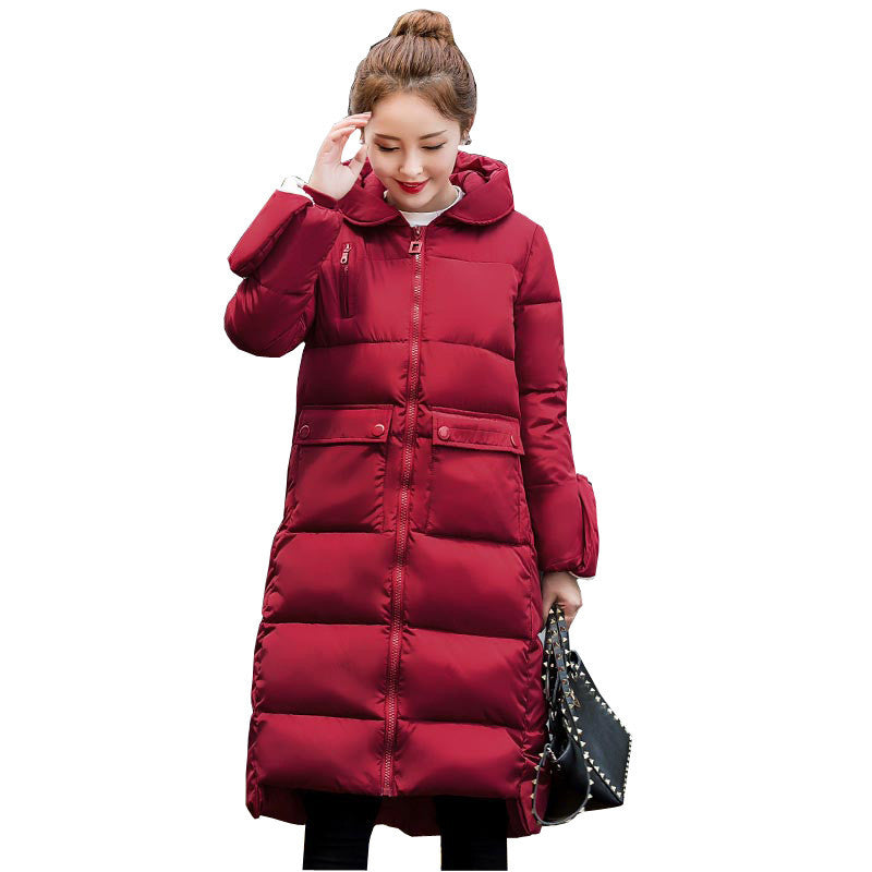 Deals Blast: high quality winter jacket women thick warm snow wear long hooded women's down cotton coat with golve plus size outerwear - Deals Blast