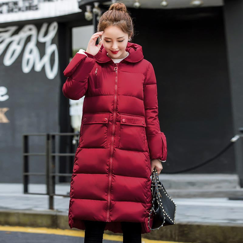 Deals Blast: high quality winter jacket women thick warm snow wear long hooded women's down cotton coat with golve plus size outerwear Deals Blast