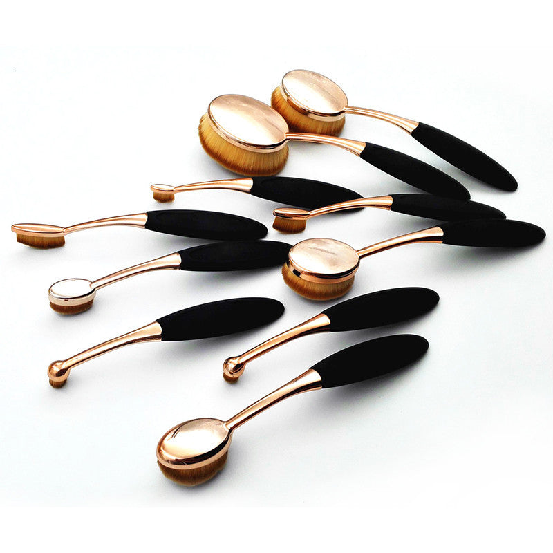 10 Piece Rose Gold Oval Makeup Brush Set Cosmetic Foundation Cream Powder Synthetic Brushes Tools Foundation Oval Brush Deals Blast
